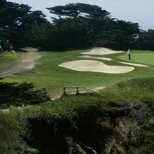 People playing golf at a golf course, Cypress Point Club, Pebble Beach, Monterey County, California
