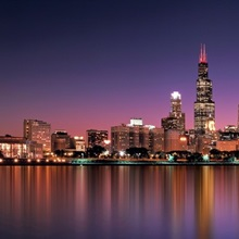 Reflection of skyscrapers in a lake, Lake Michigan, Digital Composite, Chicago, Cook County, Illinois