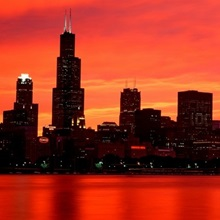 Skyline at sunset Chicago IL