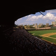 Spectators in a stadium, Wrigley Field, Chicago Cubs, Chicago, Cook County, Illinois