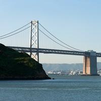 Suspension bridge across a bay Golden Gate Bridge San Francisco Bay San Francisco California