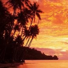 Tahiti, Huahine Island, sunset