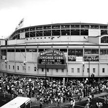 Tourists outside a baseball stadium at opening night, Wrigley Field, Chicago