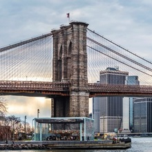 New York City Skyline with Brooklyn Bridge in Foreground