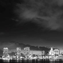 Philadelphia City Skyline at Night with Benjamin Franklin Bridge, Black and White