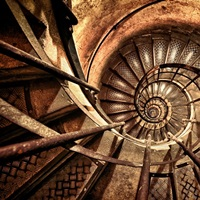 Old Spiral Stairwell in Paris, France