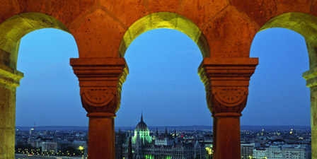 Hungary, Budapest, View of Pest from Fishermen's Bastion