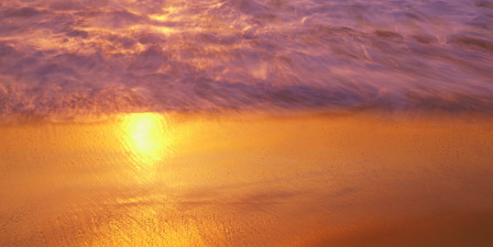 Reflection of sun in water on the beach, La Jolla, Califo...