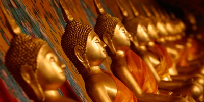 Buddhist Temple Gold Landscape Large Poster Art Print in multiple sizes