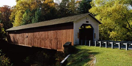 Covered bridge in a forest, McGees Mill Covered Bridge, M...
