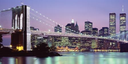 Bridge across a river lit up at dusk, Brooklyn Bridge, Ea...