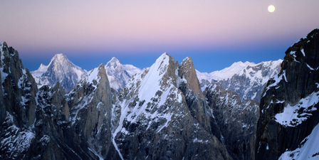 Moonrise over the Golden Throne and the Gasherbrum massif...