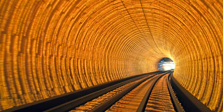 Blurred motion light trails in a train tunnel under the H...