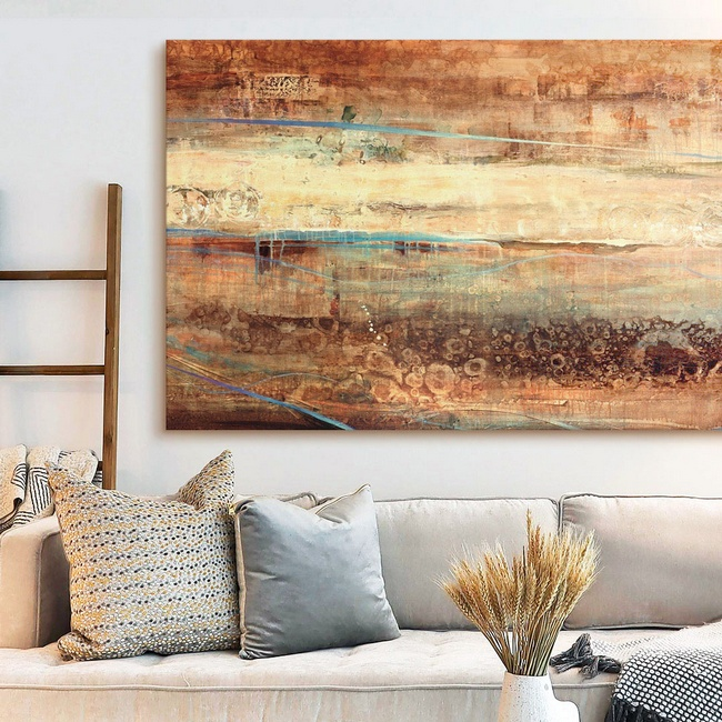 Abstract Earth Tones Canvas in Minimal Farmhouse Living Room