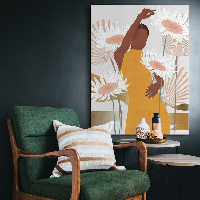 Inspirational Art Print in a Mid-Century Inspired Living Room
