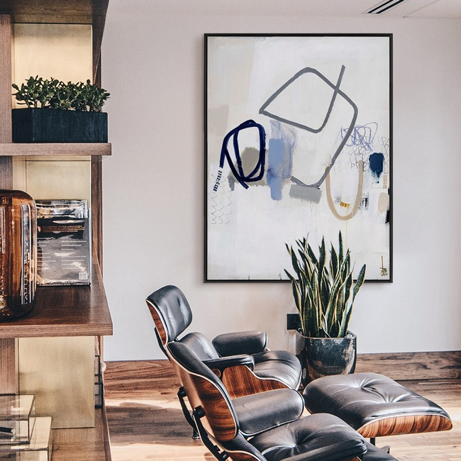 Mid-Century Living Room Featuring Oversized Abstract Art