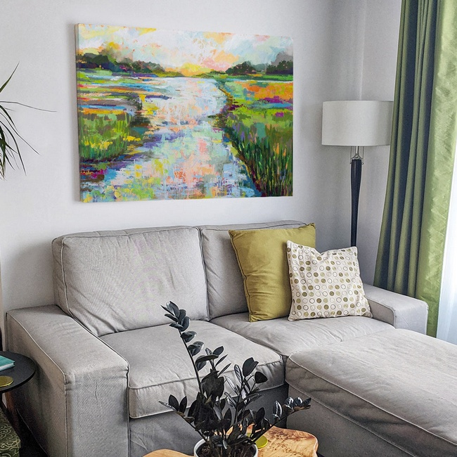 Traditional Living Room with Abstract River Art