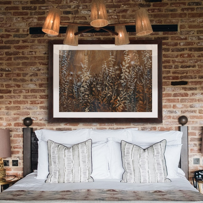 Traditional Bedroom Décor with Earth-tone Nature Art