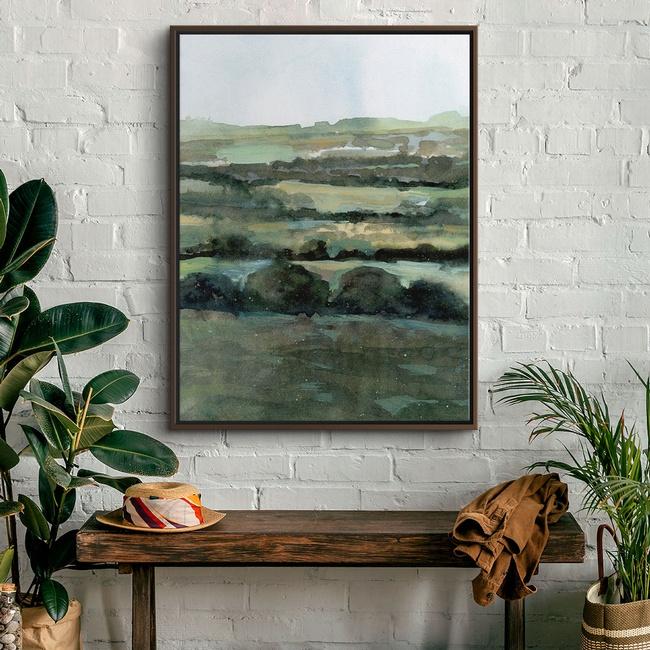 Olive Green Landscape in Bright Modern Farmhouse Entryway