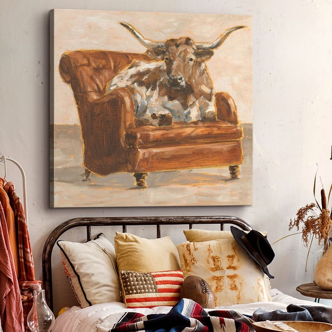 Modern Farmhouse Bedroom Accented with Contemporary Farm Animal Art
