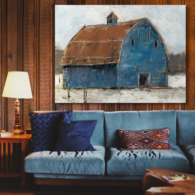 Contemporary Barn Art in Farmhouse Living Room