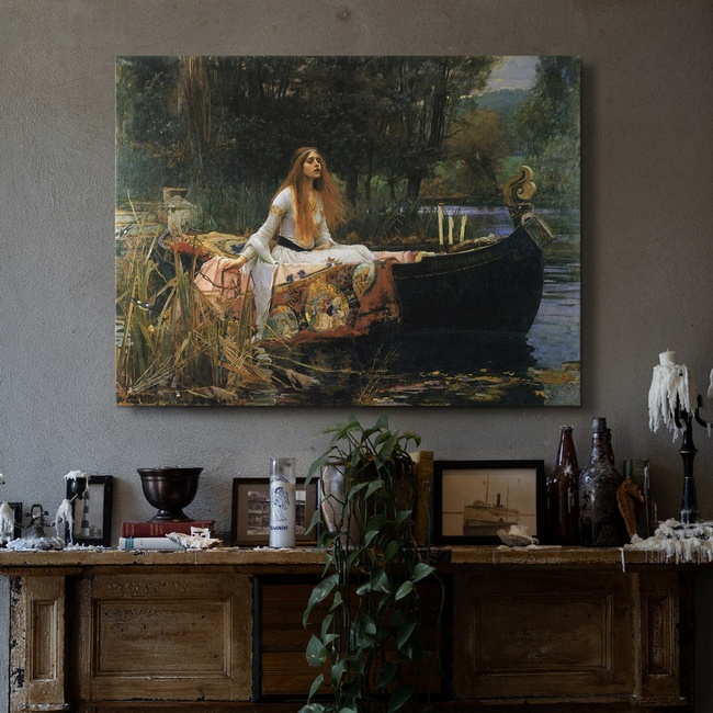 Classic Portrait Art in Rustic Living Room