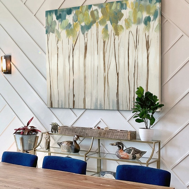 Contemporary Abstract Trees in Modern Dining Room