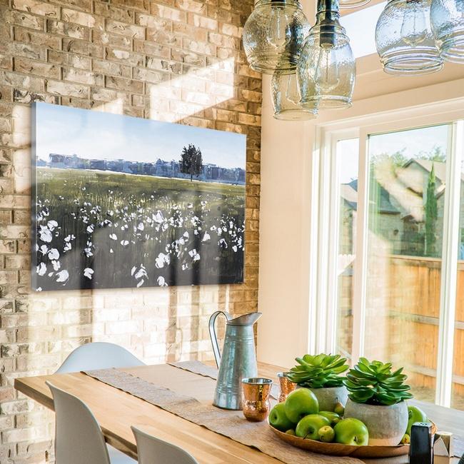 Contemporary Landscape Prints in Modern Farmhouse Kitchen