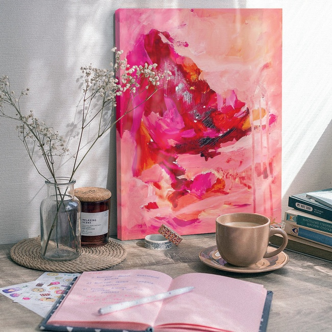 Pink Abstract Art for Traditional Office Decor
