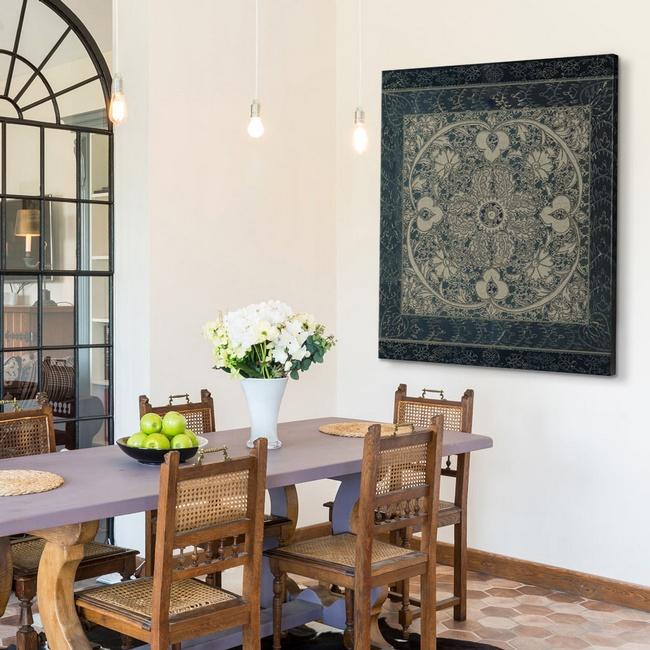 Dark Neutral Patterned Art Print in a Modern Farmhouse Dining Room