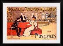 Grandes Salones y Academia de Billar, Vintage Poster, by Antoni Utrillo