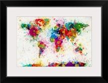 World Map Paint Drops