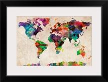 World Map Urban Watercolor