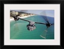 A CV22 Osprey aircraft flies over Floridas Emerald Coast