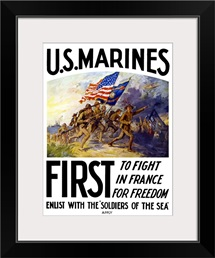 Digitally restored vector war propaganda poster. US Marines, First To Fight In France