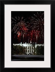 Fireworks explode over the White House