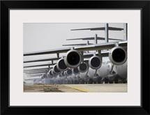 US Air Force C17 Globemaster IIIs lined up on the runway awaiting takeoff