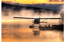 Floatplane sitting on Beluga Lake, Homer, Kenai Peninsula, Alaska,
