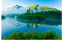 Summer scenic of mist over Moose Ponds and Explorer Glacier in Portage Valley, Alaska