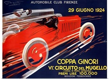 Coppa Ginori, Automobile Race, Vintage Poster