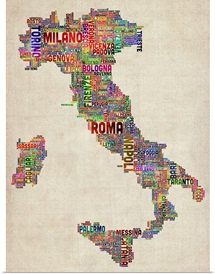 Italian Cities Text Map, Multicolor on Parchment