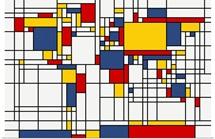 World Map Abstract Mondrian Style