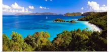 High Angle Panoramic View of Trunk Bay, St John, US Virgin Islan