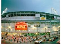 High angle view of tourists outside a baseball stadium opening night, Wrigley Field, Chicago, Illinois, 1998
