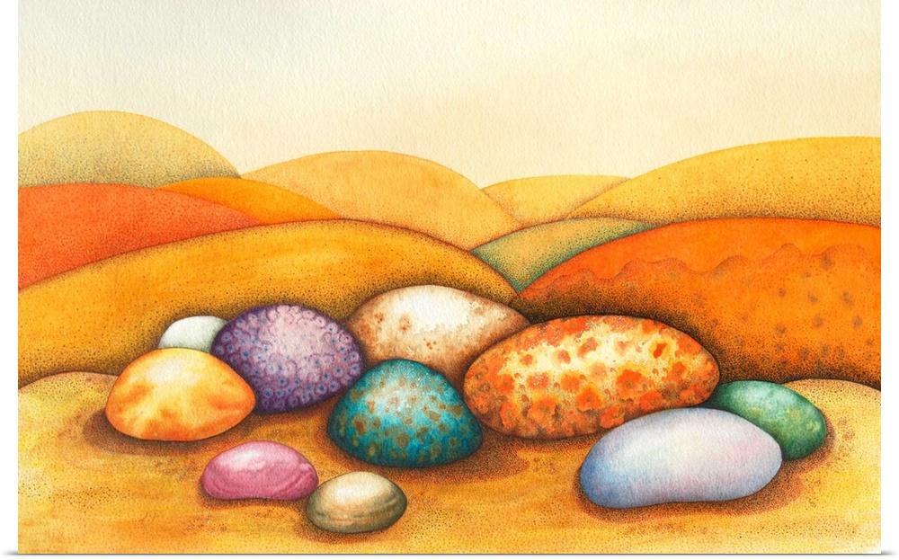 Poster Print Wall Art entitled Pebbles, 2012