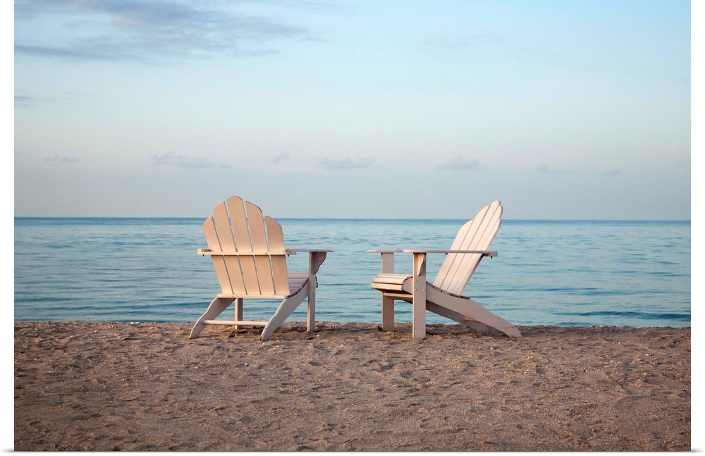 Poster Print Wall Art Enled Two Adirondack Chairs