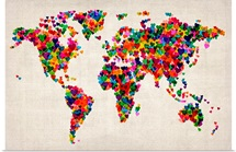 World Map Hearts, Multicolor on Parchment