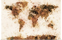 World Map Paint Splashes Bronze