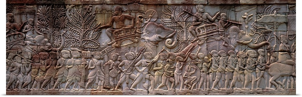 Poster Print Wall Art Enled Bas Relief Angkor