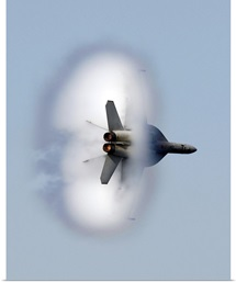 An F/A18F Super Hornet completes a supersonic flyby
